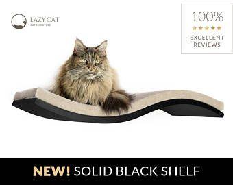 Katze Welle Regal, schwarze Katze Wand-Regal, SOFT BEIGE Kissen, Tierbett, Katzenmöbel, schwimmende Katze Regal, Wand-Katze-Regal