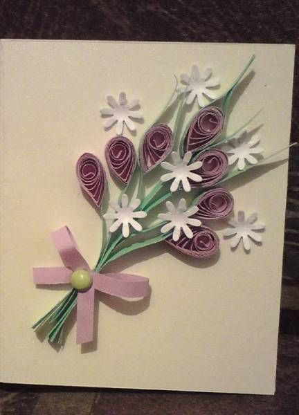 Cute little quilled arrangement to pin on a jacket, or send as a card. by: Quilled Creations
