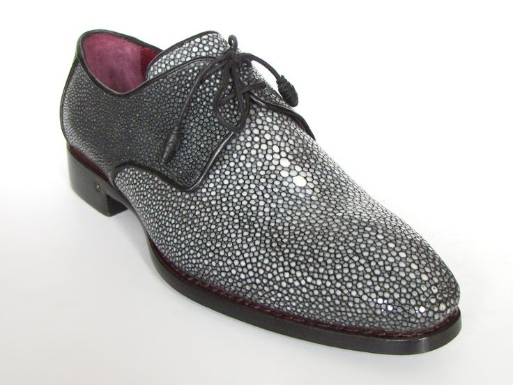 Paul Parkman 84R35 Black All Over Genuine Stingray Welted Derby Shoes - $1,219.90 :: Upscale Menswear - UpscaleMenswear.com