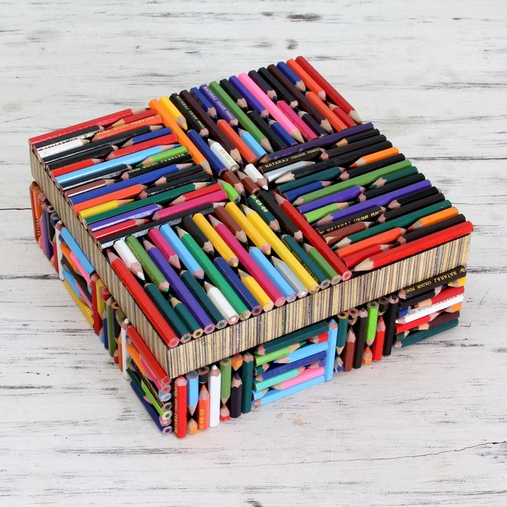 Novica Handmade Recycled Pencil 'Life in Color' Box (India) (Solid), Multi