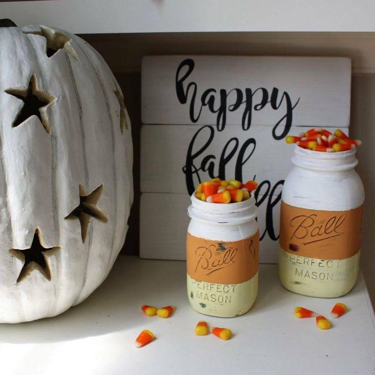 candy corn mason Jar, halloween mason jar, fall mason jars, painted mason jar, fall mason jar, fall decor, halloween decorations, halloween by BrienneFarmersMarket on Etsy