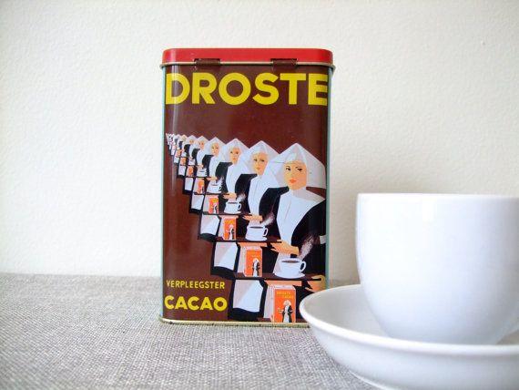 Vintage Coffee Tin Droste Tin Collectible Cocoa Jar
