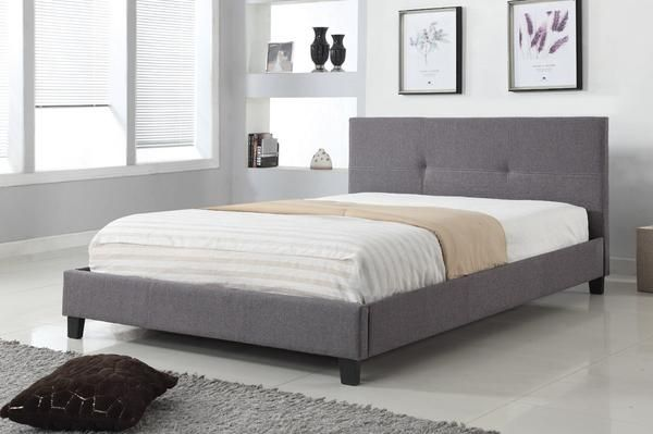 Linen-Style Grey Fabric Bed - PAYLESS FURNITURE