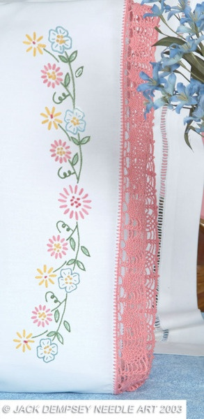 Circle of Flowers Hemstitched Pillowcases - Embroidery Kit