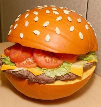 Funny Pumpkin Carving Ideas: The burger pumpkin