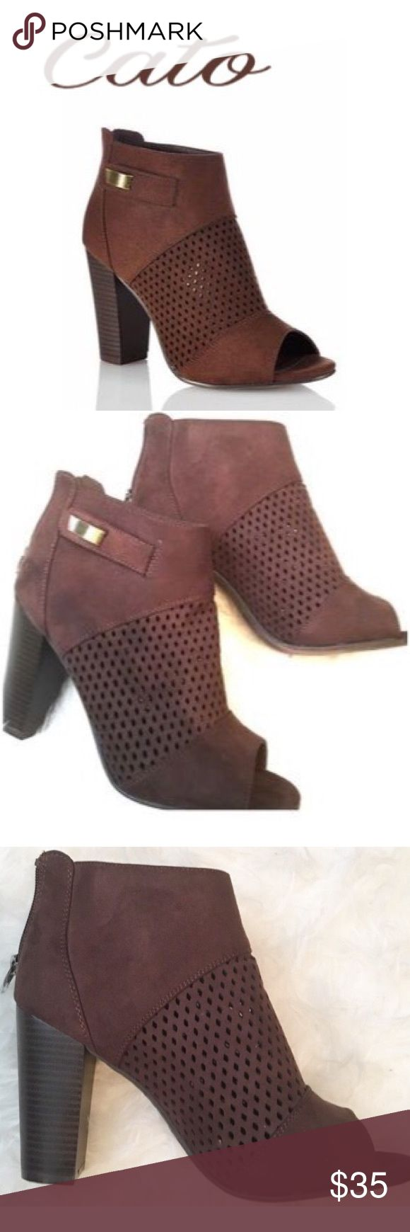 """✨Cato Brown Peep Toe Booties✨ ✨A perfect pair of peep toe booties. Great with dresses, shorts and jeans. Perfect for a night out of just a stroll through the city. A 4"""" heal. Worn them just ones✨ Cato Shoes Ankle Boots & Booties"""