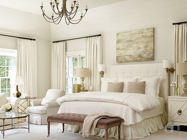 Ivory Bedroom. Ivory Bedroom Ideas. Ivory bedroom with ivory walls, ivory tufted headboard and ivory bedding. #IvoryBedroom Jessica Bradley Interiors
