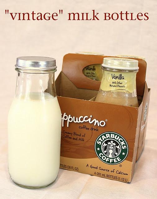 """vintage"" milk jars.: Idea, Kids Birthday, Milk Bottles, Milk And Cookies, Minis Milk Bottle, Vintage Milk Bottle, Starbucks Frappuccino, Drinks, Frappuccino Bottle"