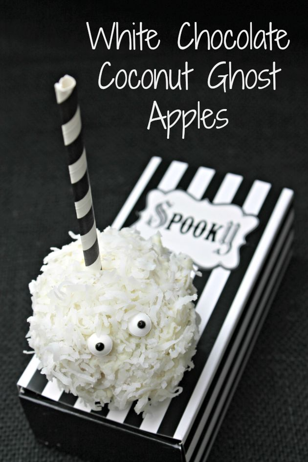 Are you looking for kid friendly & fun Halloween treats? These adorable White Chocolate Coconut Ghost Apples are sure to be a crowd pleaser!