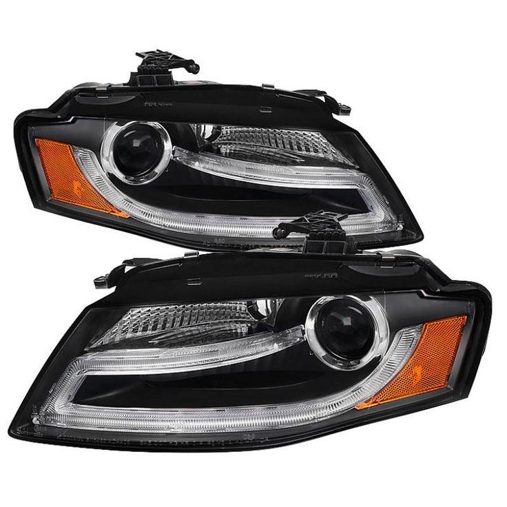 Spyder 2009-2012 Audi A4 Projector Headlights Halogen Model Only DRL LED Black - Set of 2 (PRO-YD-AA408-DRL-BK)