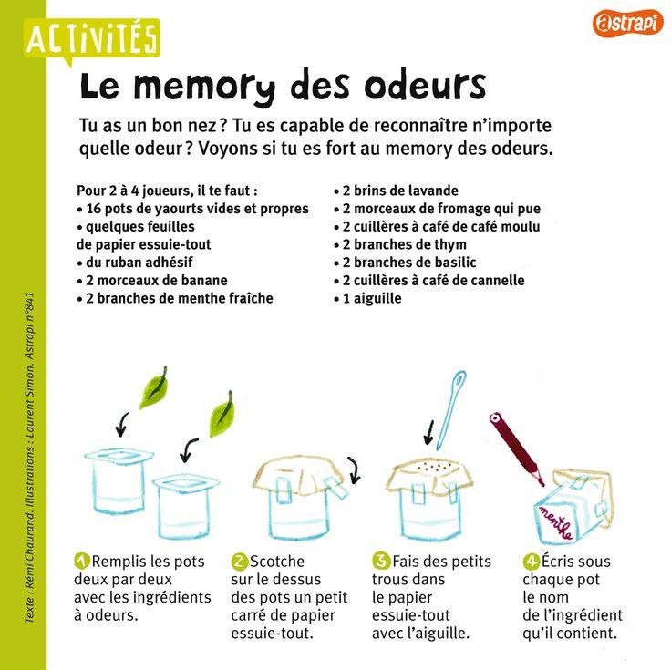 Le memory des odeurs : un bricolage facile fait avec des pots de yaourt et des herbes ou des plantes. (Extrait du magazine Astrapi n°841, pour les enfants de 7 à 11 ans).