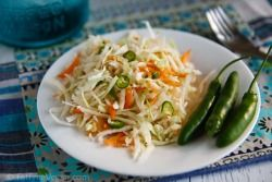 Ridiculously Easy Southwestern Coleslaw  1/2 medium cabbage 2 carrots 1-2 hot chile peppers, thinly sliced or chopped 5-6 tablespoons salsa verde 1 1/2 tablespoons lime juice 2 tablespoons vegan mayo or lite silken tofu 1/2 teaspoon agave nectar (or other sweetener) 1/4 teaspoon cumin salt to taste Instructions Remove and discard the core of the cabbage, and cut cabbage in half. Use a food processor fitted with a shredding disk to shred the cabbage and carrots. Place in a serving bowl along…