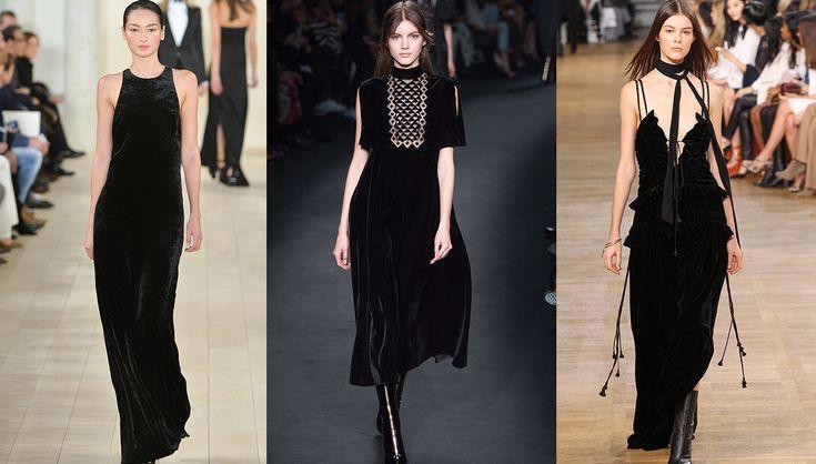 Inverno Tendenze Moda abiti di velluto, sfilata di Ralph Lauren Collection, Valentino e Chloe