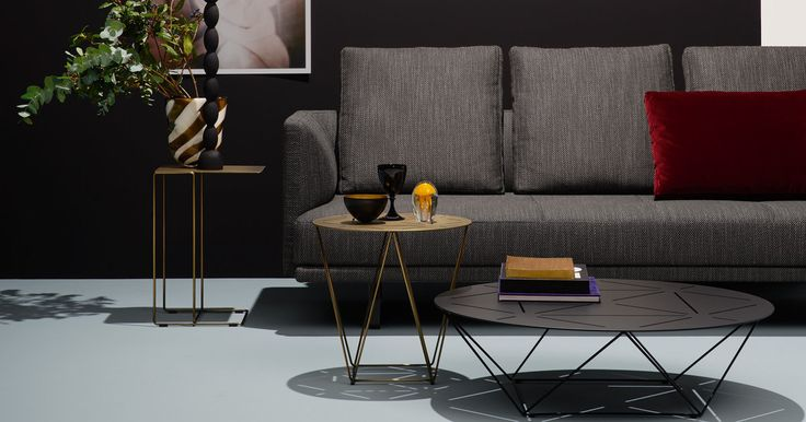 Oki tables from Walter Knoll. Top in marble, brass, bronze or copper. Designed by EOOS