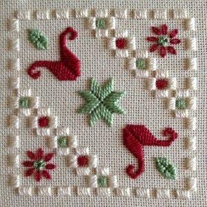 Mabel Figworthy's Fancies SAL - Gallery | Tecido: creme 25CT Lugana  Tópicos: DMC perle n º 5 e n º 8 e encalhado algodão (Ecru, 368, 498)