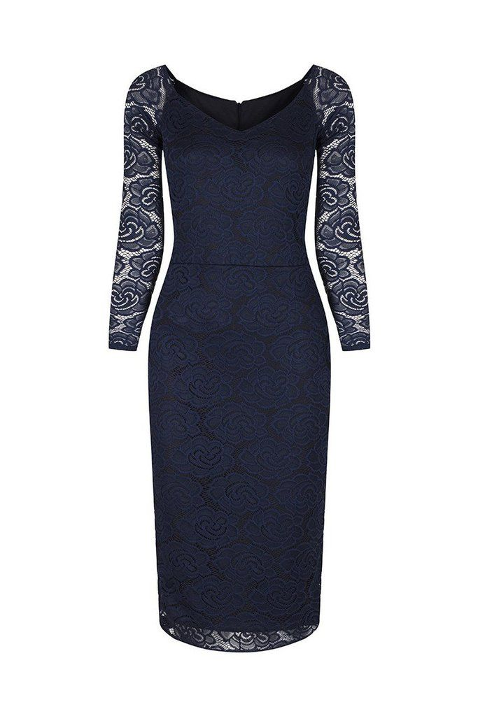 Navy Blue Long Sleeve Lace Wiggle Pencil Dress