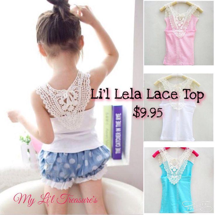 Li'l Lela Lace Top   $9.95 Girls - Lace - Pink - Blue - White
