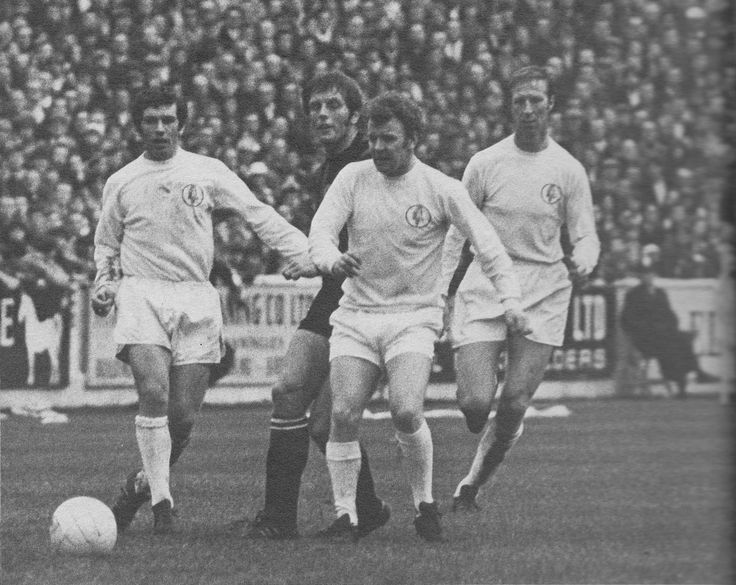 28th November 1970. Johnny Giles, Billy Bremner and Jack Charlton hunting in a pack to stop Manchester City's Alan Oakes, at Elland Road.