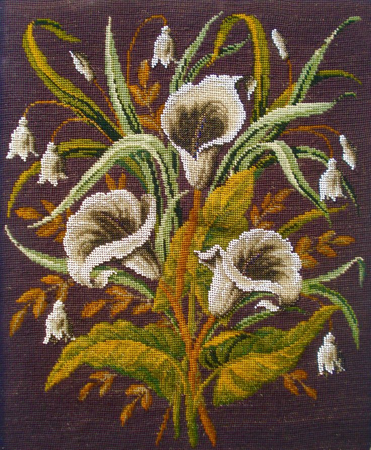 Antique victorian beadwork & berlin woolwork embroidery panel - lilies