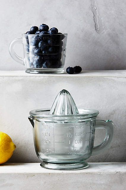 Anthropologie EU Parkhill Juicer. These graceful glass companions help you squeeze, twist and serve fresh citrus juice in a snap.