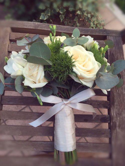 bouquet sposa, rosa vendela,eucalipto,fresia bianca