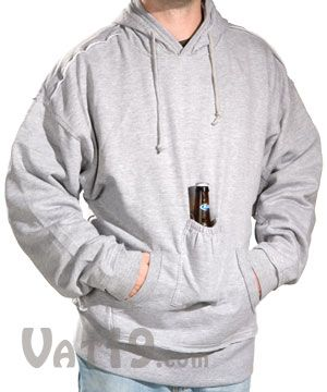 Beer Pouch Sweatshirt with Hood: The Original Beer Holder Sweatshirt -- The only improvement would be to include an insulated pocket so your beer doesn't get warm.