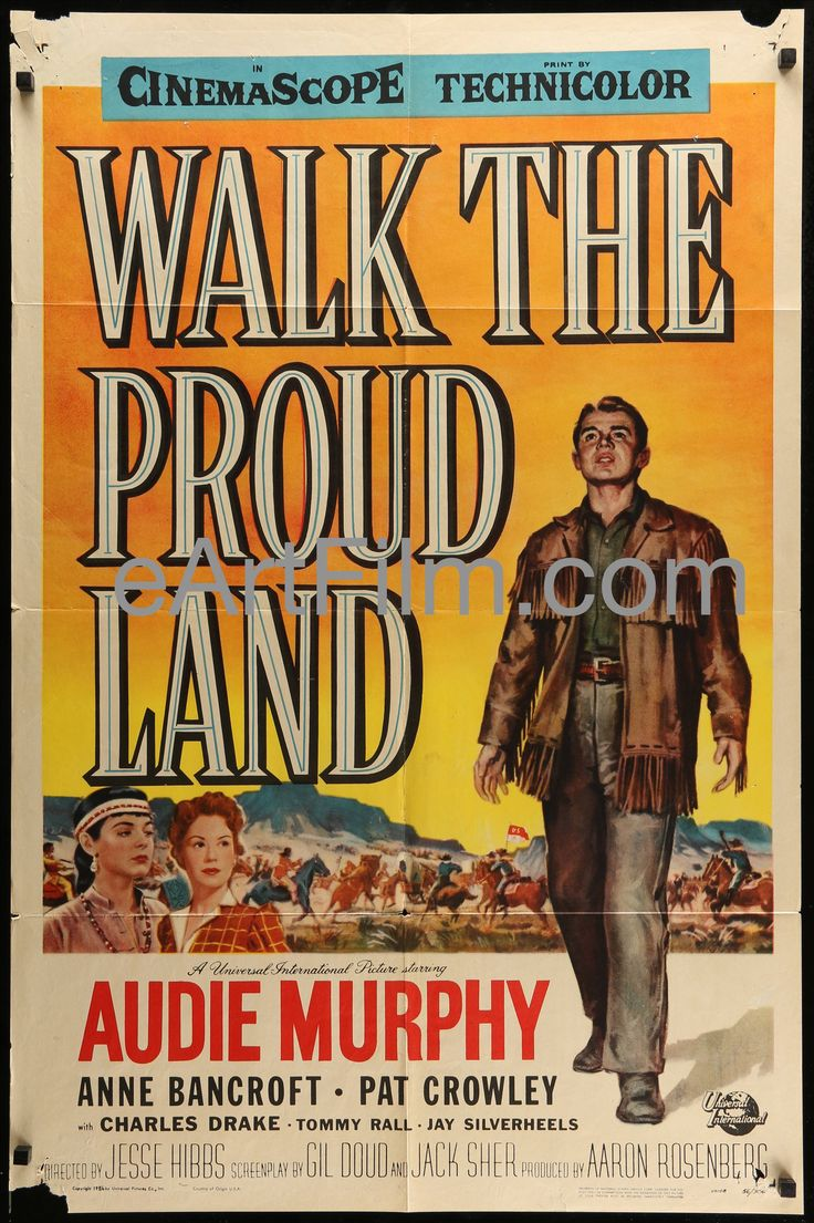 Walk The Proud Land 1956 27x41 Original One Sheet Audie Murphy Anne Bancroft