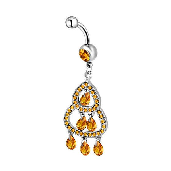 316 L Surgical Steel Orange Crystal Chandelier Dangle Belly Navel... ($49) ❤ liked on Polyvore featuring jewelry, belly ring, piercings, chandelier jewelry, body jewellery, orange crystal jewelry, surgical steel body jewelry and surgical steel jewelry