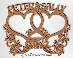 Scroll Saw Patterns :: Special occasions :: Anniversary :: Intertwined Hearts & roses -