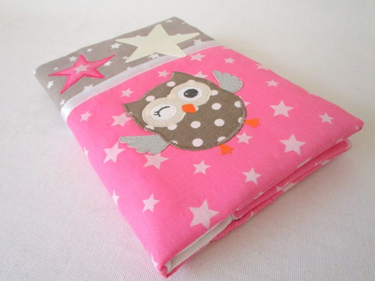 """Protège carnet de santé en tissu étoilé rose et tissu étoilé taupe avec un appliqué """"chouette"""" : Puériculture par au-fil-de-syl"""