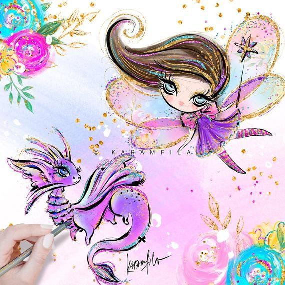 Unicorn Clipart Unicorn Clip Art Watercolor Unicorn Hand | Etsy