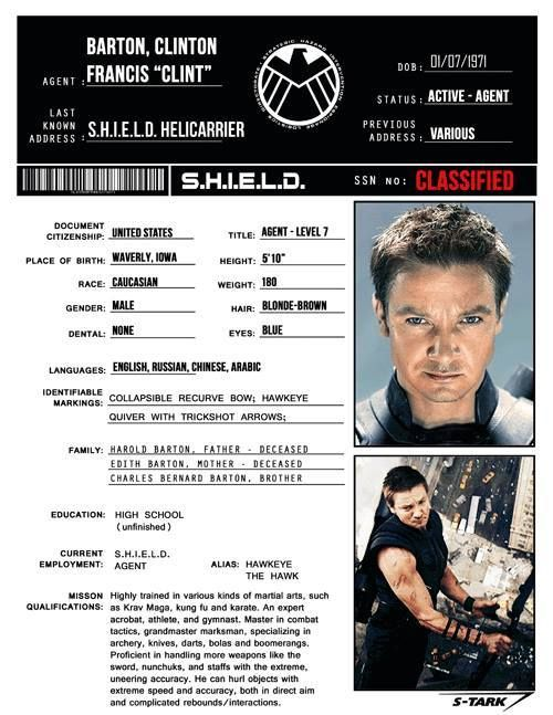 S.H.I.E.L.D. Profile: Clint Barton    would be perfect if it had his full name, his disability (loss of hearing), and ASL as one of the languages.