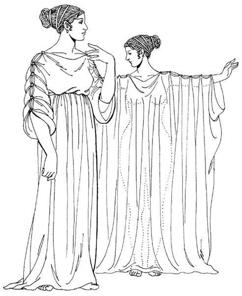 Раскраски древний греческий женский костюм
