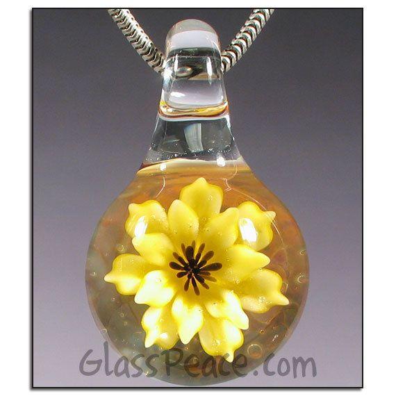 77 best borosilicate glass pendants images on pinterest glass glass flower pendant lampwork focal bead by glass peace aloadofball Gallery