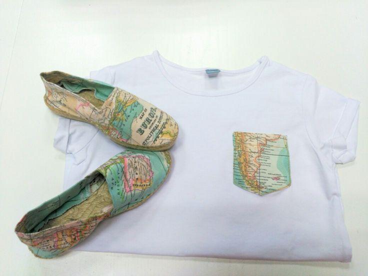 Alpargatas y camiseta hechas con tela de mapas