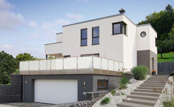 Modernes Flachdachhaus im Bauhausstil.