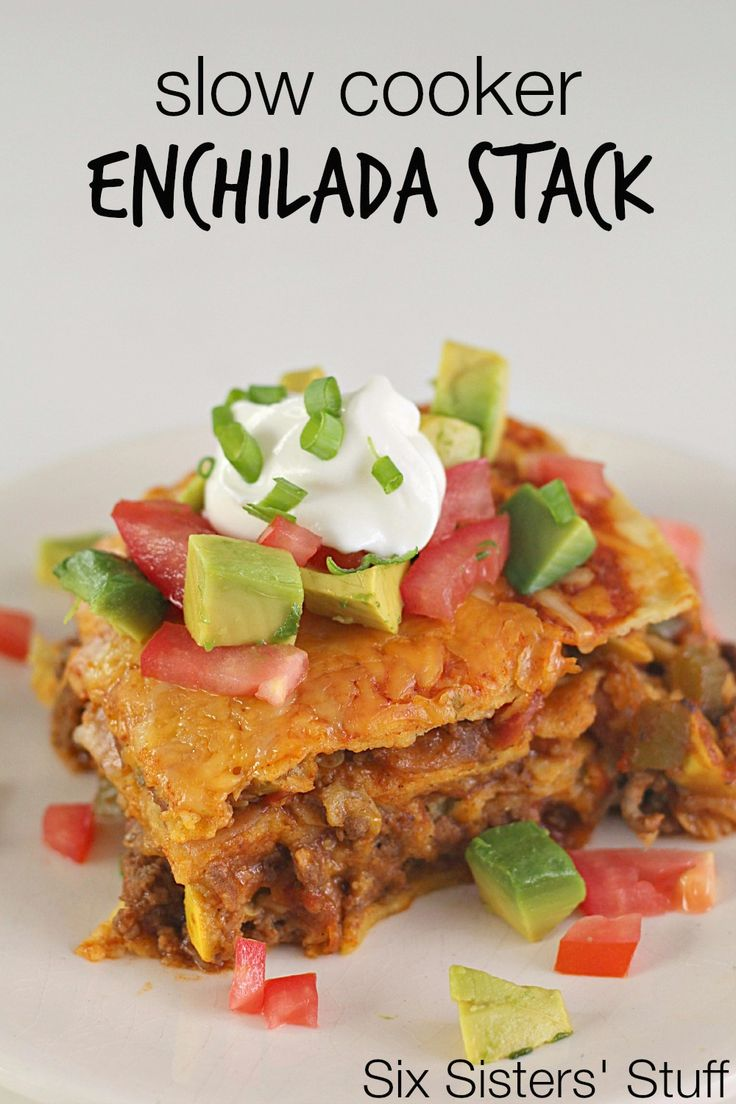 Slow Cooker Beef Enchilada Stack on SixSistersStuff.com- all the flavor without all the work!