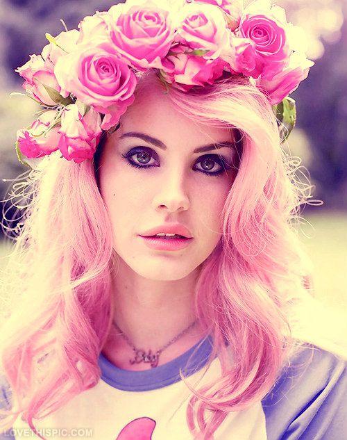 Lana del rey hair roses pink hair lana del rey