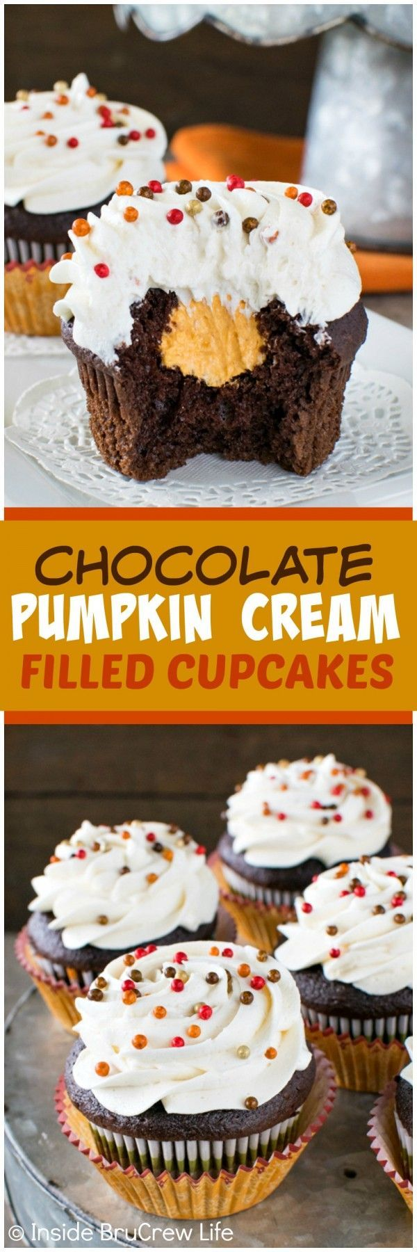 Chocolate Pumpkin Cream Filled Cupcakes - a hidden pumpkin cream center makes these chocolate cupcakes a fun recipe to share at fall parties