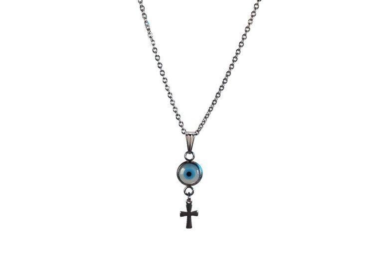 collier pendentif oeil en nacre et croix en acier inoxydable