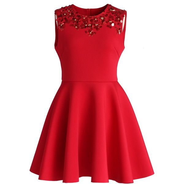 Chicwish Enchanting Red Embellished Skater Dress ($59) ❤ liked on Polyvore featuring dresses, vestidos, red, robes, sequin party dresses, party dresses, red sequin dress, beaded cocktail dress and red polka dot dress