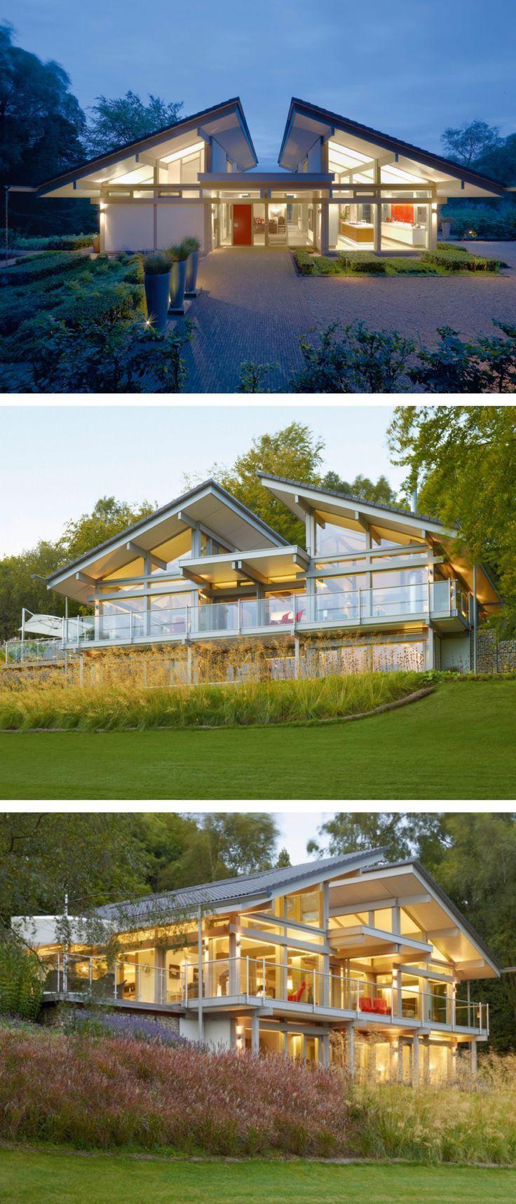Fachwerk Bungalow Design Modern Mit Pultdach Architektur Offen Glas Fassade Einfamilienhaus In Hanglage Bauen Huf Haus Art Sonder