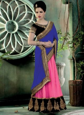 Alluring Blue And Pink Georgette With Net Embroidery Work Lehenga Saree