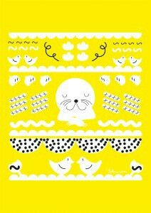 Happy seal poster. Illustration by Sokru, Outi Virtanen. www.sokru.com