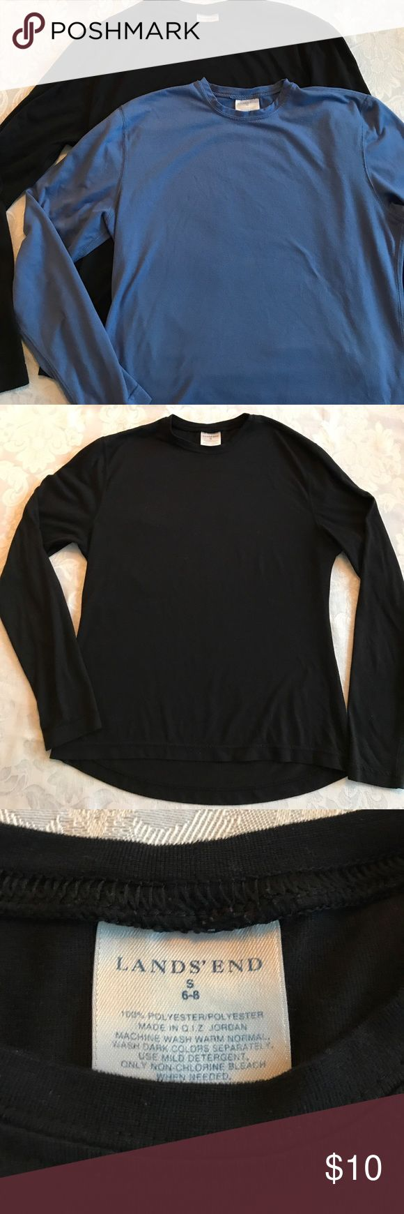Set of Black and Blue Long Sleeve Tops These lightweight long underwear tops will keep you toasty when cold weather hits. A good base layer is important and these high quality crew neck tops are made of high-performance fabric that help you maintain your comfort when the temperature plunges. The black top is size small; the blue one is a small petite. In EUC with no holes or stains. Lands' End Intimates & Sleepwear