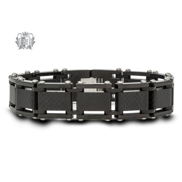 Luxurious and understated, this squared link stainless steel bracelet features a checker patterned carbon fiber stripe: a material used in high performance luxury vehicles. #lookbook #fashion #sterlingsilver #silver925 #gemstones #jewelry # necklaces #tungsten #rings #gems #charms #cubic #love #showyourlove #spoilher