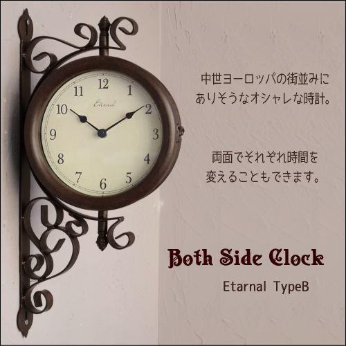 時計が2つ合わさった両面時計はインテリアのアクセントにも大人気。こちらはエレガントなフレームが魅力です。