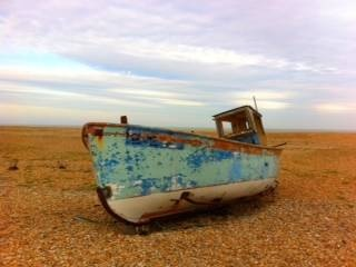 A beached ship at Dungeness