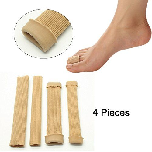 Sumifun 4Pcs Silicone Tube Toe Protectors Sleeves for Bunions Sore Corns Callus Blisters Hammer Toes, Fit on Big Toe and Little Toe (4Pcs Long Caps(Large