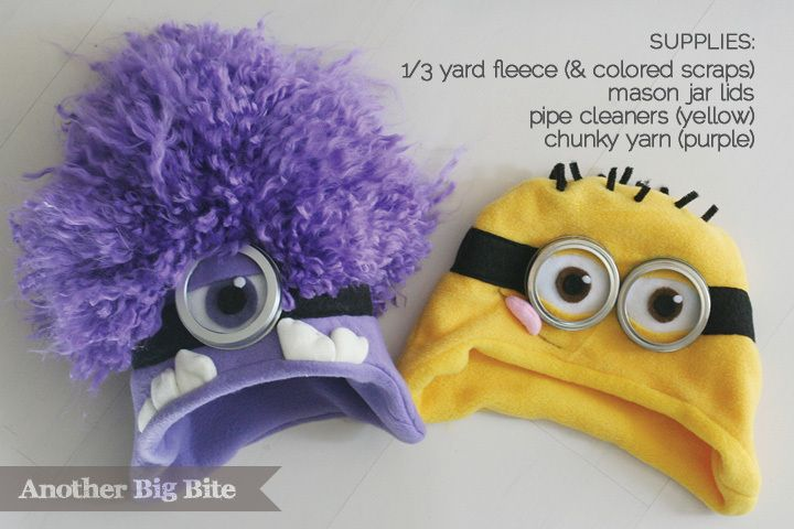 Another Big Bite - cute fleece DIY Minion Hats -- thinking of making for my niece.  She LOVES the minions.